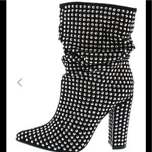 New black faux suede studded booties
